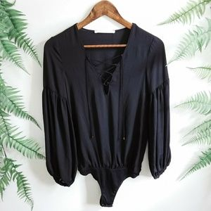 NWT Zara Trafaluc Black Lace Up Bodysuit Blouse